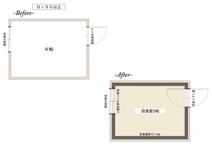 ピアノ室の防音工事の図面